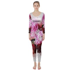 Flowers Roses Wedding Bouquet Art Long Sleeve Catsuit