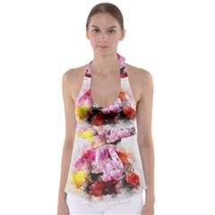 Flowers Roses Wedding Bouquet Art Babydoll Tankini Top