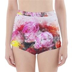 Flowers Roses Wedding Bouquet Art High Waisted Bikini Bottoms