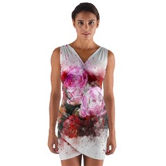 Flowers Roses Wedding Bouquet Art Wrap Front Bodycon Dress