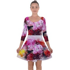 Flowers Roses Wedding Bouquet Art Quarter Sleeve Skater Dress