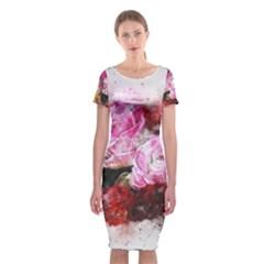 Flowers Roses Wedding Bouquet Art Classic Short Sleeve Midi Dress