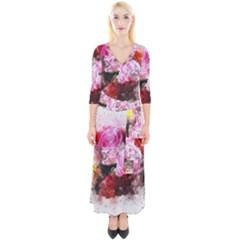 Flowers Roses Wedding Bouquet Art Quarter Sleeve Wrap Maxi Dress