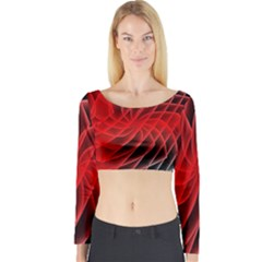 Abstract Red Art Background Digital Long Sleeve Crop Top