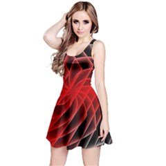 Abstract Red Art Background Digital Reversible Sleeveless Dress