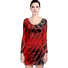 Abstract Red Art Background Digital Long Sleeve Bodycon Dress