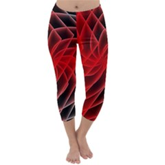 Abstract Red Art Background Digital Capri Winter Leggings