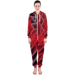 Abstract Red Art Background Digital Hooded Jumpsuit (ladies)