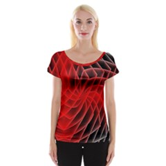 Abstract Red Art Background Digital Cap Sleeve Tops