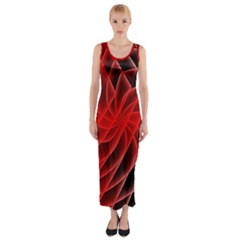 Abstract Red Art Background Digital Fitted Maxi Dress