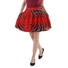 Abstract Red Art Background Digital A Line Pocket Skirt