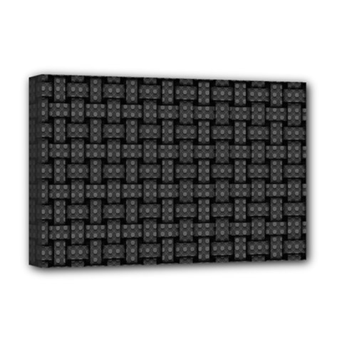 Background Weaving Black Metal Deluxe Canvas 18  X 12