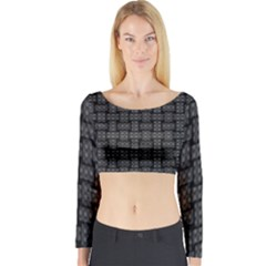 Background Weaving Black Metal Long Sleeve Crop Top