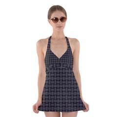 Background Weaving Black Metal Halter Dress Swimsuit