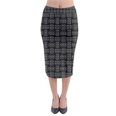 Background Weaving Black Metal Midi Pencil Skirt