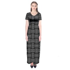 Background Weaving Black Metal Short Sleeve Maxi Dress