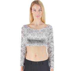 Background Wall Stone Carved White Long Sleeve Crop Top