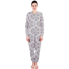 Background Wall Stone Carved White Onepiece Jumpsuit (ladies)