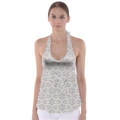 Background Wall Stone Carved White Babydoll Tankini Top