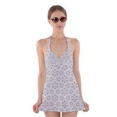 Background Wall Stone Carved White Halter Dress Swimsuit