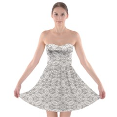 Background Wall Stone Carved White Strapless Bra Top Dress