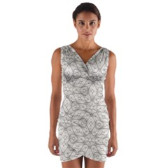 Background Wall Stone Carved White Wrap Front Bodycon Dress