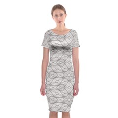 Background Wall Stone Carved White Classic Short Sleeve Midi Dress