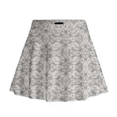Background Wall Stone Carved White Mini Flare Skirt