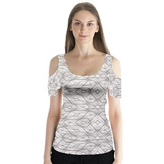 Background Wall Stone Carved White Butterfly Sleeve Cutout Tee