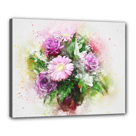 Flowers Roses Bouquet Art Nature Canvas 20  X 16