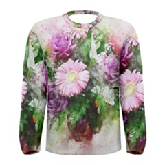 Flowers Roses Bouquet Art Nature Men s Long Sleeve Tee