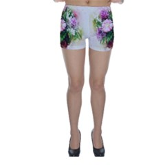 Flowers Roses Bouquet Art Nature Skinny Shorts