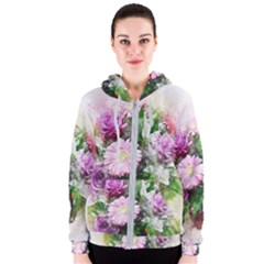 Flowers Roses Bouquet Art Nature Women s Zipper Hoodie