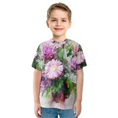 Flowers Roses Bouquet Art Nature Kids  Sport Mesh Tee