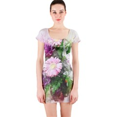Flowers Roses Bouquet Art Nature Short Sleeve Bodycon Dress