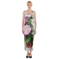Flowers Roses Bouquet Art Nature Fitted Maxi Dress