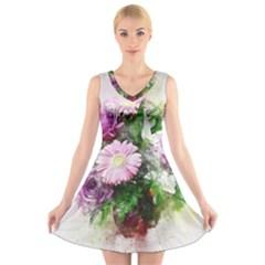 Flowers Roses Bouquet Art Nature V Neck Sleeveless Skater Dress