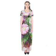 Flowers Roses Bouquet Art Nature Short Sleeve Maxi Dress