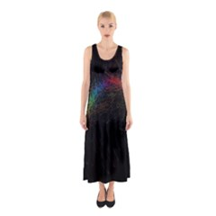 Background Light Glow Lines Colors Sleeveless Maxi Dress