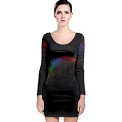 Background Light Glow Lines Colors Long Sleeve Bodycon Dress