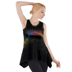 Background Light Glow Lines Colors Side Drop Tank Tunic