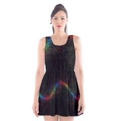 Background Light Glow Lines Colors Scoop Neck Skater Dress