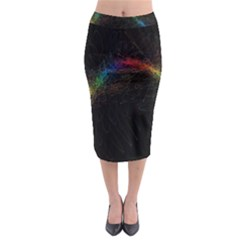 Background Light Glow Lines Colors Midi Pencil Skirt