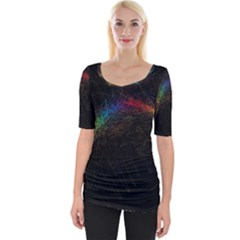 Background Light Glow Lines Colors Wide Neckline Tee