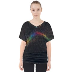 Background Light Glow Lines Colors V Neck Dolman Drape Top