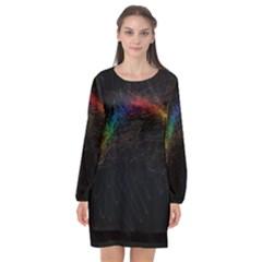 Background Light Glow Lines Colors Long Sleeve Chiffon Shift Dress