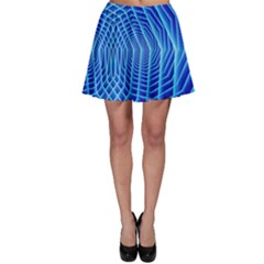 Blue Background Light Glow Abstract Art Skater Skirt