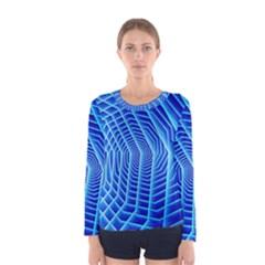 Blue Background Light Glow Abstract Art Women s Long Sleeve Tee