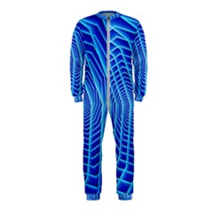 Blue Background Light Glow Abstract Art Onepiece Jumpsuit (kids)