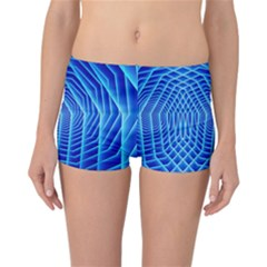 Blue Background Light Glow Abstract Art Reversible Boyleg Bikini Bottoms